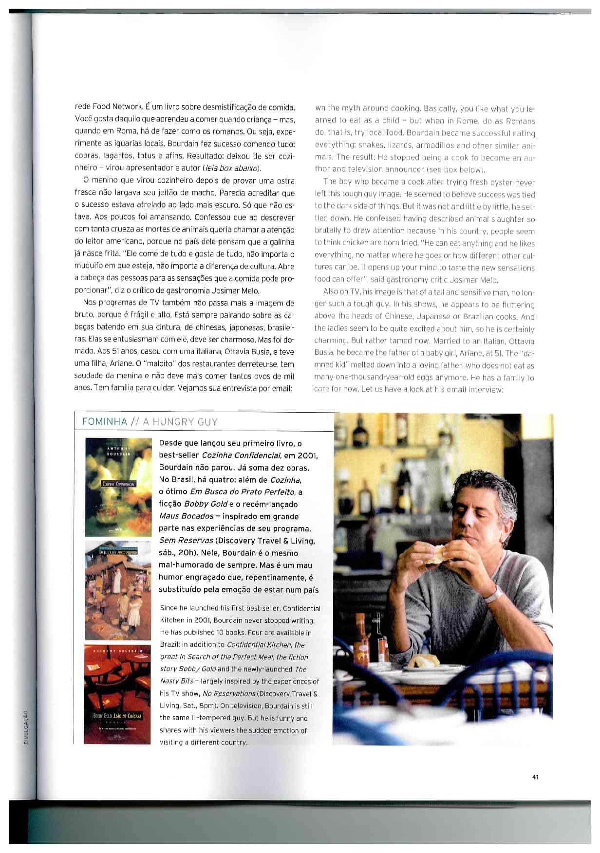 Anthony Bourdain - Entrevista Para a Revista da TAM3